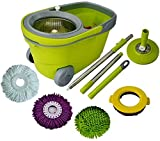 Green Direct Spin Mop and Bucket Deluxe Cleaning System with Microfiber Head, Easy Spinning Wringer