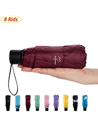 mini Travel sun & rain Umbrella (8 Rids)- Light Compact & 95% Anti-UV