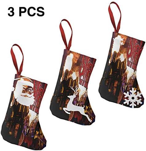 クリスマスの日の靴下 (ソックス3個)クリスマスデコレーションソックス Slipknot クリスマス、ハロウィン 家庭用、ショッピングモール用、お祝いの雰囲気を加える 人気を高める、販売、プロモーション、年次式
