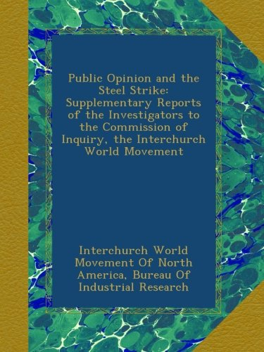 Public Opinion and the Steel Strike: Supplementary Reports of the Investigators to the Commission of Inquiry, the Interchurch World Movement pdf epub