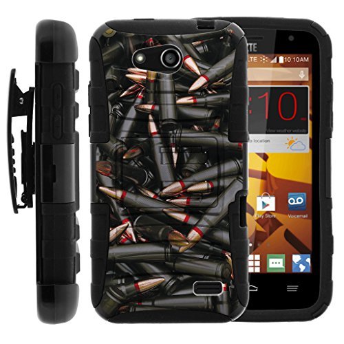 TurtleArmor | ZTE Speed Case | N9130 [Hyper Shock] Rugged Reinforced Armor Hybrid Hard Shell Kickstand Fitted Silicone Carry Holster Belt Clip War and Military Design - Black Bullets
