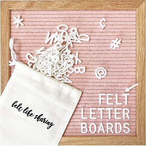 Felt Letter Board, 10x10in Changeable Letter Board with Letters White 300 Piece – Felt Message Board, Oak Frame Wooden…