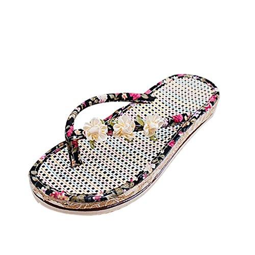 Vovotrade Frauen Sommer Sandelholz Schuhe Klippzehe Blume flache Sandalen und Pantoffeln Halbschuhe römischen Sandalen Damen Flip Flops Schwarz