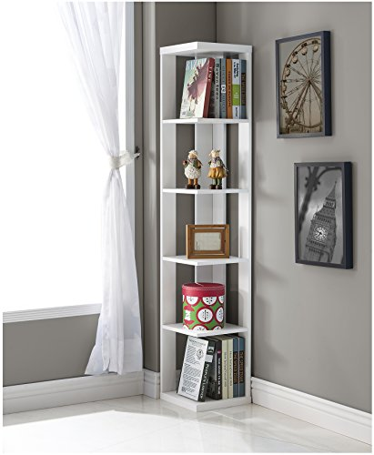 White Finish Wood Wall Corner 5-Tier Bookshelf Bookcase by eHomeProducts