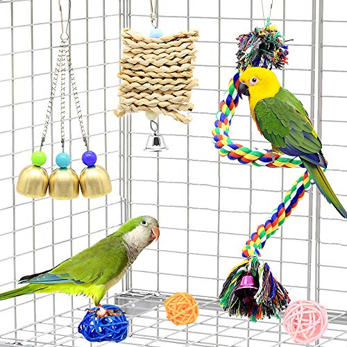 DOMIGLOW Bird Toys for Parrots - 12 Pack Bird Perch Ladder Hanging Chew Toys Colorful Parrot Toys Bird Cage Accessories for Cockatiel Parakeet Macaw Parrotlet Conure Lovebird (12Pcs)
