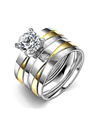 HMILYDYK Stainless Steel Ring Cubic Zirconia CZ Band Promise Wedding Band 2 Pcs A Set Size 6 - 9
