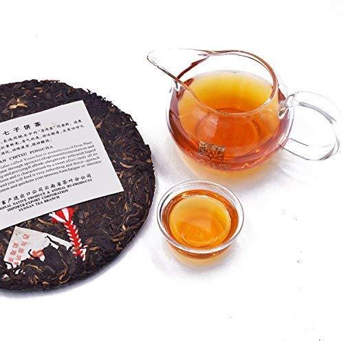 2003 Chinese tea green printing [15 years dry warehouse old Pu'er tea] Yunnan dry warehouse storage Treasure old tea [Yunnan Qizi cake tea] 2003 suppression conversion taste very good 12.59OZ / cake by NanJie (Image #3)