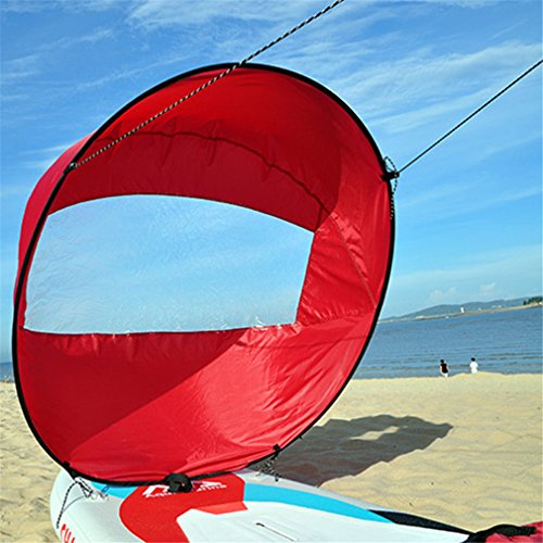 Mexidi 42 inches Foldable Kayak Downwind Kit,Paddle Board Sail Sup Paddle Board Instant Popup&Easy Setup & Deploys Quickly,Wind Sail, Kayak Canoe Accessories, for Kayak Boat Sailboat Canoe (Red)