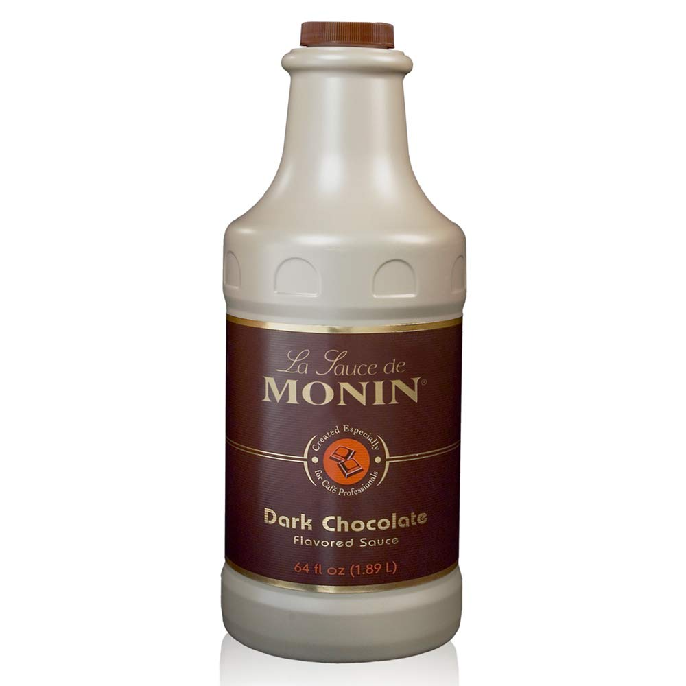 Monin - Gourmet Dark Chocolate Sauce, Velvety and Rich, Great for Desserts, Coffee, and Snacks, Gluten-Free, Vegan, Non-GMO (64 Ounce) by Monin (Image #1)