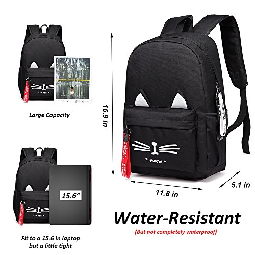 8dbf9a1370 DIOMO School Bookbag Backpack Cute Cat Waterproof Travel Daypacks Fits 15.6  inch Laptop (Black)