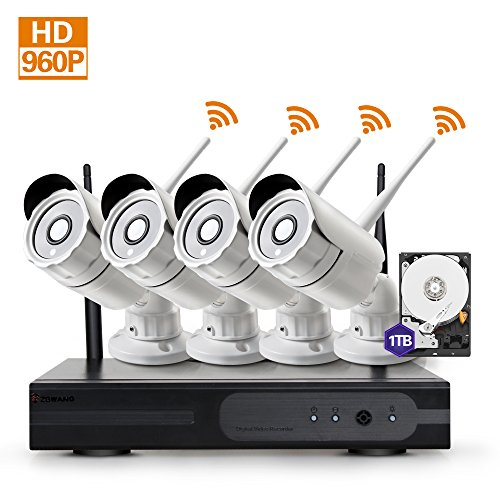Zgwang Smart WiFi Wireless Security Cameras- 4 Pack- HD 1.3MP WiFi IP Cameras with 1TB HDD, IR Night Vision and Remote Access,WH13-4N