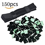 100pcs Wire Clips and 50pcs Wire Straps : Senlleo Adhesive Cable Ties Clamps, Fastening Velcro Straps, Reusable Wire Cable Organizer for Home / Office / Car