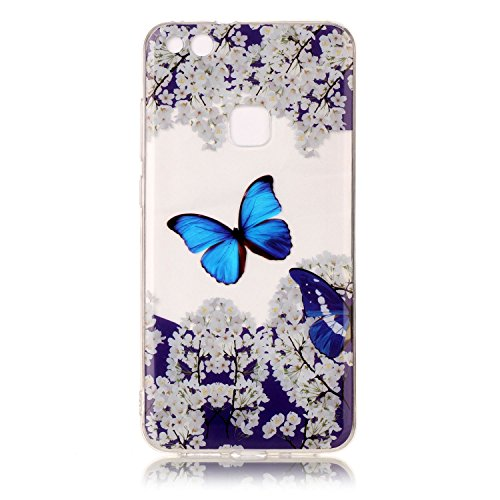 Leecase Crystal Clear Slim Fit Cute Blue Butterfly White Flower Design Soft Gel Silicone Bumper Ultrathin Tpu Rubber Case Cover For Huawei P10 Lite Blue Butterfly White Flower