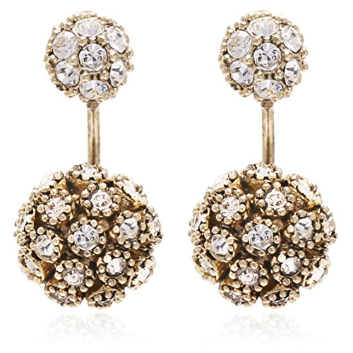 - Double Ball Earring Jackets with Crystal Pave Setting for Women