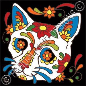 6x6 Tile Day of the Dead Cat Sugar Skull (Sugar Skull Cat)
