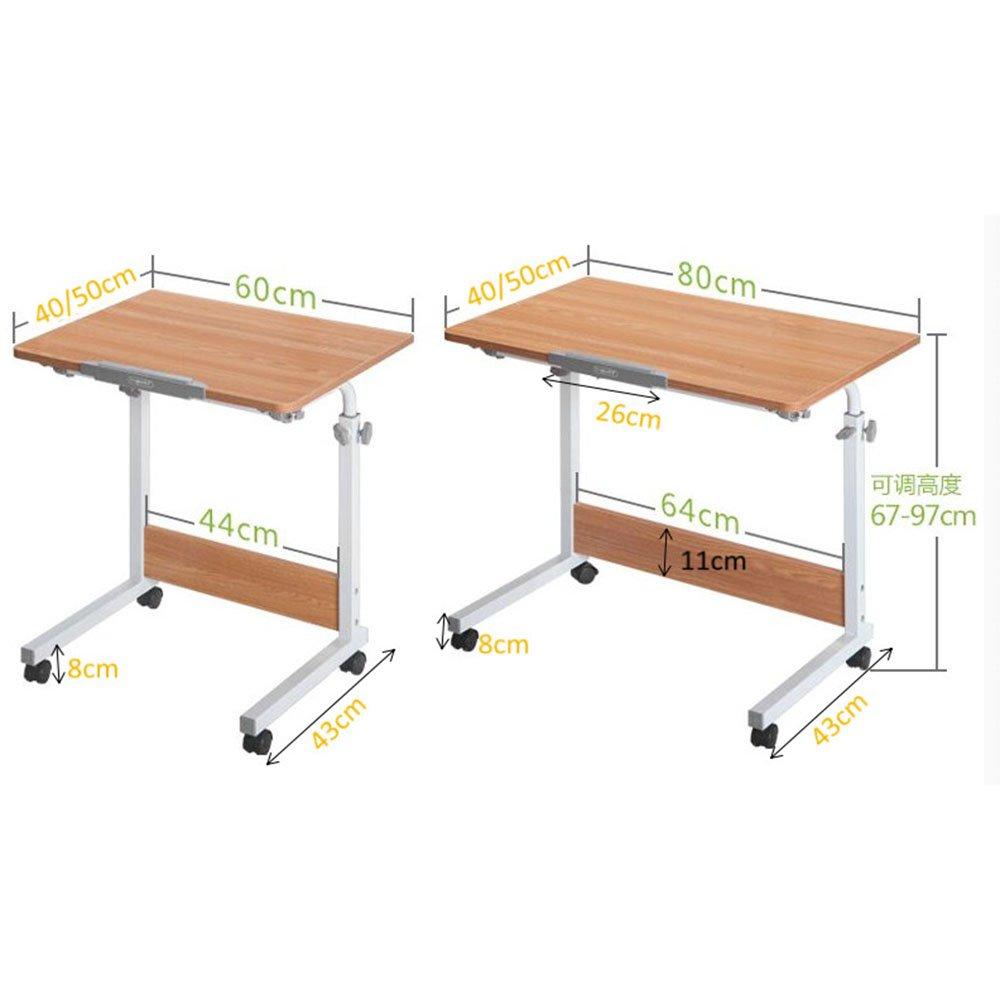 XIAOLIN シンプルな折り畳み式のデスクの家庭の学生のコンピュータのデスクリムーバブルベッドの学習テーブル子供のライティングデスク調節可能な高さラップトップベッドテーブル、ポータブルスタンドデスク家庭用リフトテーブル ( 色 : ウッド うっど , サイズ さいず : L80W40 ) B07BKTBFTG L80W40|ウッド うっど ウッド うっど L80W40