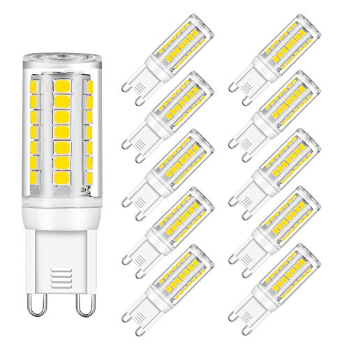(G9 LED Bulb Dimmable, 4W, Daylight White 5000K, 40W Halogen Bulbs Replacement, UL Listed, 380LM, AC 120V CRI 82, G9 Base (10 Pack) by Eco.Luma)