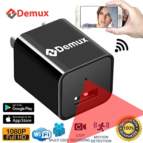 DEMUX WiFi Spy Camera Charger | Full HD Hidden 1080P USB Spy Camera | Nanny Cam | Wireless Secret Wall Adapter | Home Security Camera System | Motion Activated | Live Feed for iOS and Android Phones
