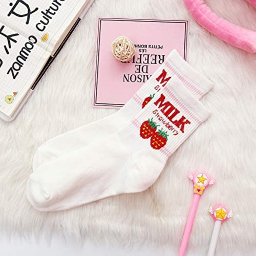 Cotton Socks Strawberry Milk Pattern Girls Breathable In tube Socks Kawaii UK