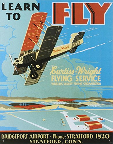 Learn To Fly Bi Wing Airplane Tin Sign 13 x 16in