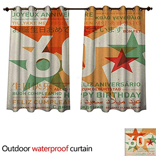 (60th Birthday Outdoor Ultraviolet Protective Curtains World Cities Birthday Party Theme with Abstract Stars Print W55 x L72(140cm x)