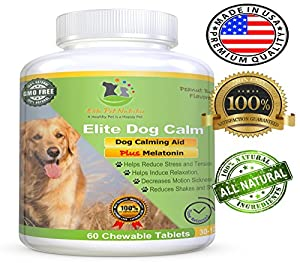 10. Elite Dog Calm – Advanced All-Natural Relaxant for Dogs, Relieves Separation Anxiety & Stress, 60 Chewable Tablets