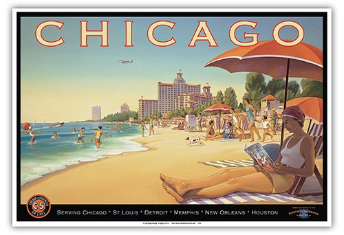 Chicago, Illinois - Lake Michigan - Chicago and Southern Air Lines (C&S) - Edgewater Beach Hotel - Vintage Style Airline Travel Poster by Kerne Erickson - Master Art Print - 13 x 19in