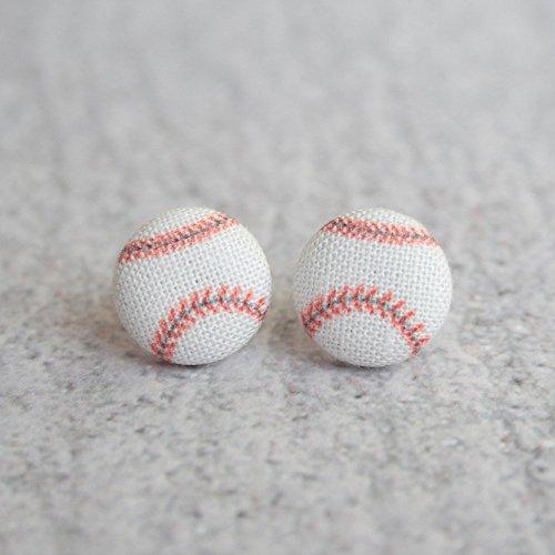 Baseball Fabric Button Earrings