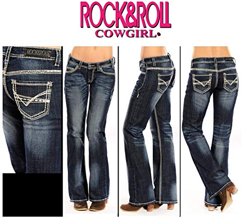 - Rock & Roll Cowgirl Heavy Embroidered Riding Boot Cut Dark Vintage Wash Jean W7-9516 (27