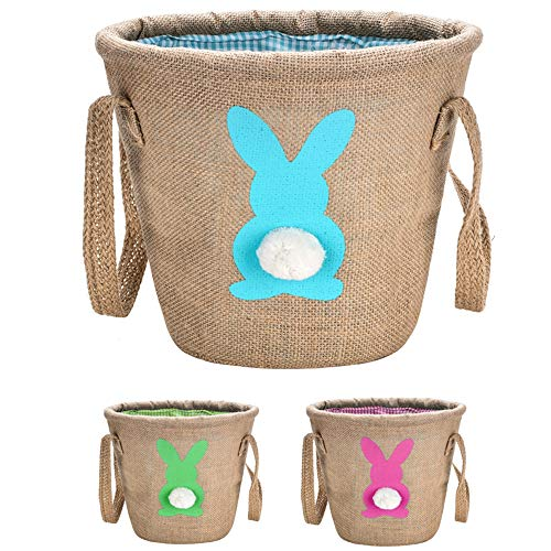 Personalized Easter Bunny Basket,Jute Cloth Tote Bag Carrying Eggs for Easter,Easter Bucket(Blue)]()