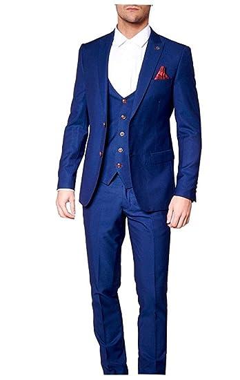 d38ed945ff0 New Slim Fit Men s Royal Blue Suits 3 Pieces Peak Lapel Wedding Suit Groom  Tuxedos  Amazon.co.uk  Clothing