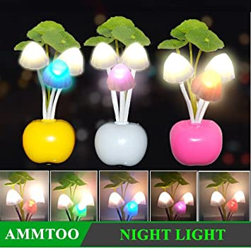 Amazon.com: Mini Dreaming Mushroom LED Night Light 3LED RGB ...