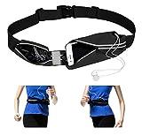 KristLand Sport Running Belt Waist Pack Outdoor for IPhone X 6 7 8 Plus Pouch for Runners Phone Holder Men, Women, Kids Running Accessories Black