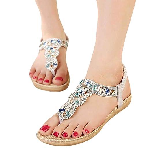 Women's Summer Bohemian Beach Sandals Beaded Flip Flops Clip Toe Flat Slippers