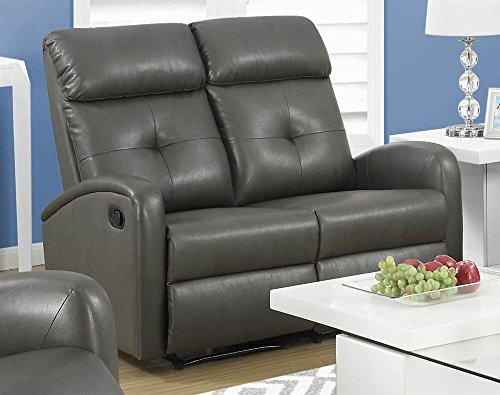 Monarch Specialties I 88GY-2 Reclining Loveseat in Charcoal Grey Bonded Leather