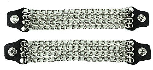 4 Row Silver Chain Bikers Vest Extender Mc Jacket Leather Snaps Set of 2 -