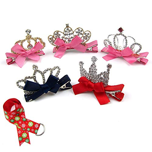 Alfie Pet by Petoga Couture - Alison Crown Hair Clip 5-Piece Set for Dogs, Cats and Small Animals