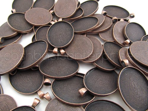 CleverDelights 20 Oval Pendant Trays - Antique Copper Color - 30 x 40 mm - Pendant Blanks Cameo Bezel Cabochon Settings - -