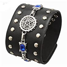 Godyce Supernatural Bracelet Leather Wide Black for Men Jewelry - Stainless Steel Charm