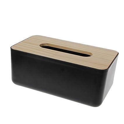 jiamins negro plástico caja de pañuelos dispensador de servilletas soporte toalla de papel, diseño de