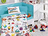 LaModaHome 6 Pcs Luxury Soft Colored Bedroom Bedding 100% Cotton Ranforce Baby Sleep Set Quilt Protector/Soft Relaxing Comfortable Pattern Design Happy Baby Animal/Baby Bed Size with Flat Seet