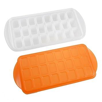 Plástico chocolate fábrica de hielo molde del molde de 24 ranuras Naranja Rojo: Amazon.es: Hogar