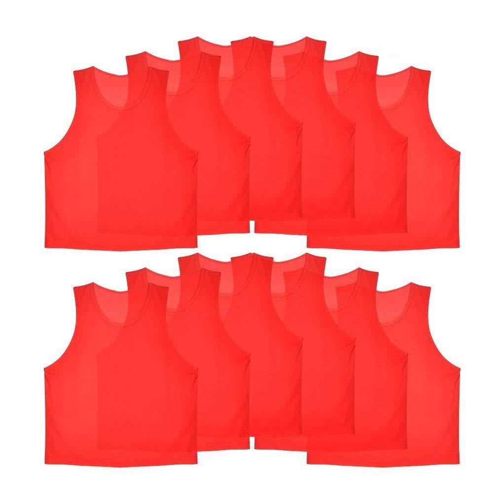 12 Pcs Kids Jerseys Scrimmage Training Vests Football Vest Mesh Breathable Bibs for Volleyball Soccer Basketball ( Color : Orange ) VGEBY