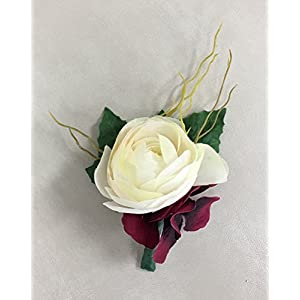 Boutonniere - Ranunculus with Greenery Accents - Choose Flower Color (Burgundy) 21