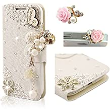 Samsung Galaxy S6 Edge SM-G925 Case,Vandot 2 in 1 Set Exclusive 3D Bling Crystal Rhinestone Flower Wood Heart I Love You Wallet Case With Card Slots[Credit Card Holder][Perfect Fit],PU leather Flip Stand Skin Cover+Pink Flower Anti Dust Plug,White