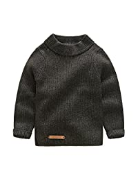 Mud Kingdom Solid Color Boys' Long Sleeve Pullover Sweaters Turtleneck