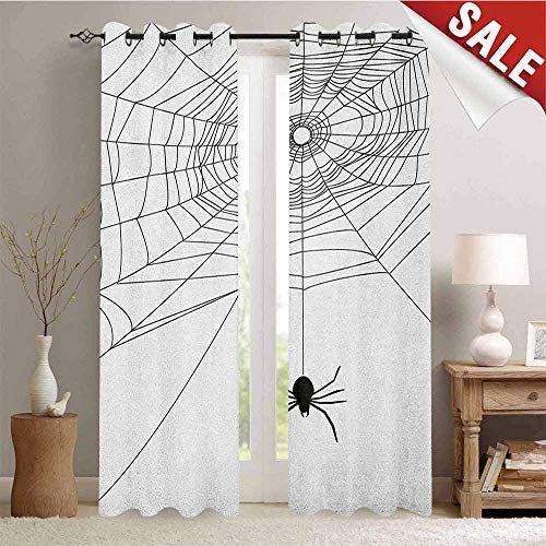 Spider Web Room Darkening Wide Curtains Complex Doodle Net Sticky Gossamer Hunting Insect Catch Danger Prey Spooky Waterproof Window Curtain W108 x L108 Inch Black White