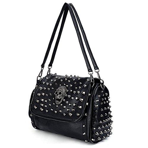 UTO Women Skull Shoulder Bag Rivet Studded Satchel Smooth PU Leather Purse Bags ()