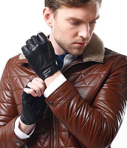 Mens Black Leather Fingerless Gloves - 5