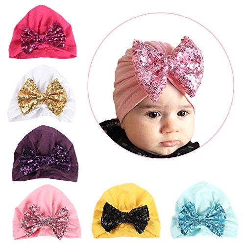 5a5ce0bd438 Elesa Miracle 6pc Sequnis Bow Turban Baby Hat Newborn Hospital Hat Baby  Beanies Cap